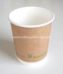 Двустенна Крафт картонена чаша 8 oz (200 мл) Биоразградима  500 бр