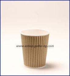 Картонена чаша 8 oz (200 мл) RIPPLE крафт, тристенна, 25/500 бр.