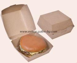 Картонена кутия за сандвичи голяма Кафява без печат 11*11*8,5 см, 50 бр.
