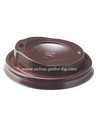 Капак STL 80 мм за картонена чаша 8 / 12 oz  1000 бр Тъмнокафяв