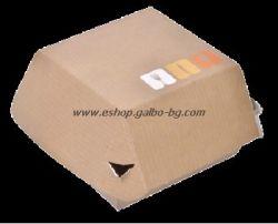 Картонена кутия за сандвичи голяма Кафява с печат 11*11*8,5 см, 50 бр.