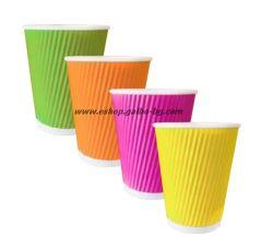 Картонена чаша 14 oz (350 мл) RAINBOW RIPPLE, тристенна, 500 бр
