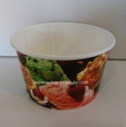 Картонена купа за сладолед с печат 400 мл   25 бр