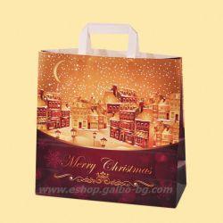 "Хартиена чанта ""Коледна нощ"" 32/12/32 см, 10 бр"