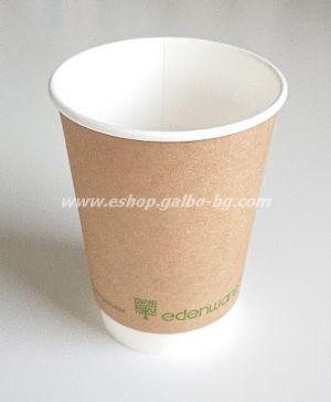 Двустенна Крафт картонена чаша 14 oz (350 мл) Биоразградима  25 бр