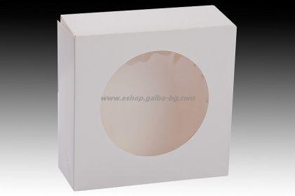 Бяла картонена кутия с прозорец 20*20*7,5 см 25 бр