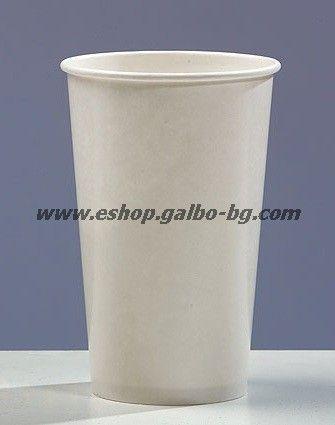 Бяла картонена чаша 16 oz за студени напитки (400 мл) 1000 бр