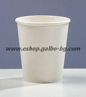 Бяла картонена чаша 7 oz (150 мл) диаметър 70 мм 100 бр