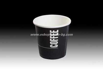 Картонена чаша 4 oz (80 мл) BLACK COFFEE 1000 бр.