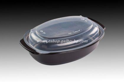 РР Черна кутия за храна 900 мл с капак, 50 бр.