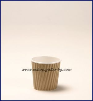 Картонена чаша 4 oz (80 мл) RIPPLE крафт, 25 бр.