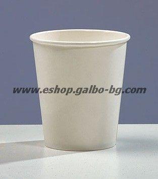 Бяла картонена чаша 8 oz (200 мл, 300 гр/м2)  1000 бр