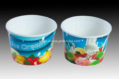 Картонена чаша за сладолед с печат 100 мл,  70 бр