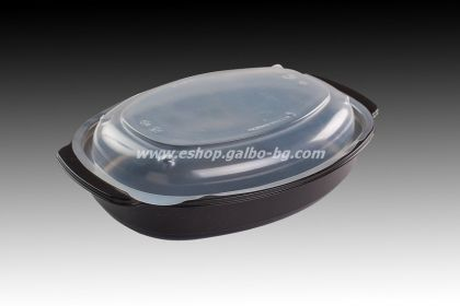РР Черна кутия за храна 750 мл с капак, 50 бр.