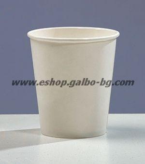 Бяла картонена чаша 8 oz (200 мл)  100 бр