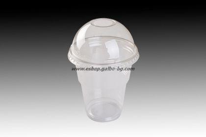 Чаша 300 мл от РЕТ и ЕКО Бомбе капак 95 с широк отвор  50 бр