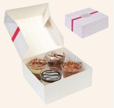 Картонена кутия за 8 парчета торта 20*20*8 см 25 бр.