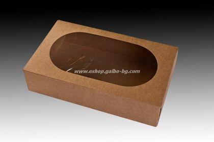 Картонена кутия 1500 мл с прозорец КАФЯВА 21х13х5,5 см, 25 бр.