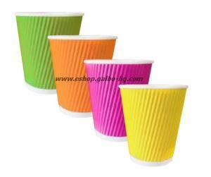 Картонена чаша 8 oz (200 мл) RAINBOW RIPPLE, 25 бр.