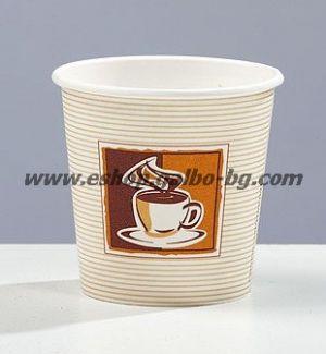 Картонена чаша 4 oz (80 мл) КАФЕ КРЕМ 50 бр