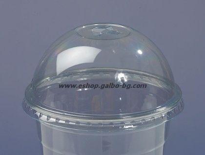 ЕКО Капак 95 мм  за РЕТ чаша, тип Бомбе с цепка за сламка 50 бр