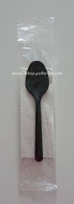 Комплект черни пластмасови прибори - лъжица, салфетка 1 бр