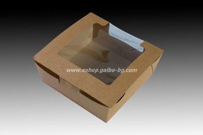 Картонена кутия с прозорец КАФЯВА 13х13х5,5 см, 25 бр.