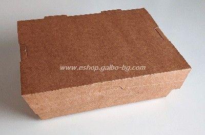 Картонена кутия за храна КАФЯВА 2400 мл  200 бр