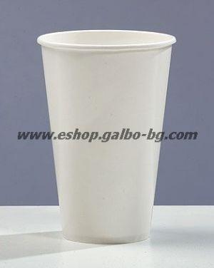 Бяла картонена чаша 12 oz (300 мл) за студени напитки  100 бр