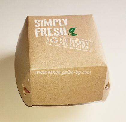 Картонена кутия за хамбургер БИО GREEN LINE  с печат 11*11*8,5 см, 50 бр.