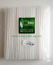 Биоразградими PLA сламки, прави  25 см / 8 мм - бели 150 бр.