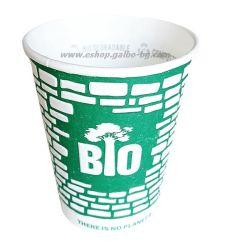 Биоразградима двустенна релефна картонена чаша 14 oz (350 мл) GREEN WALL  25/500 бр
