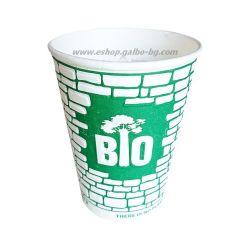 Биоразградима двустенна релефна картонена чаша 8 oz (200 мл) GREEN WALL  25/500 бр