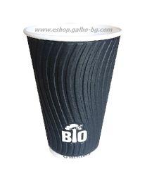 Биоразградима двустенна черна релефна картонена чаша 16 oz (400 мл) BLACK BIO TREE  25/500 бр
