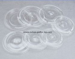 Капак CL95F за РЕТ чаша, плосък с цепка за сламка,  100 бр