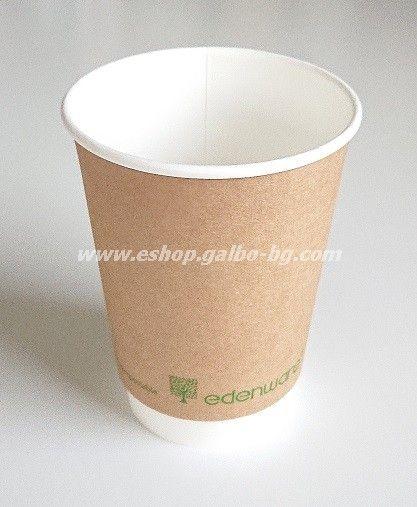 Двустенна Крафт картонена чаша 14 oz (350 мл) Биоразградима  25/500 бр