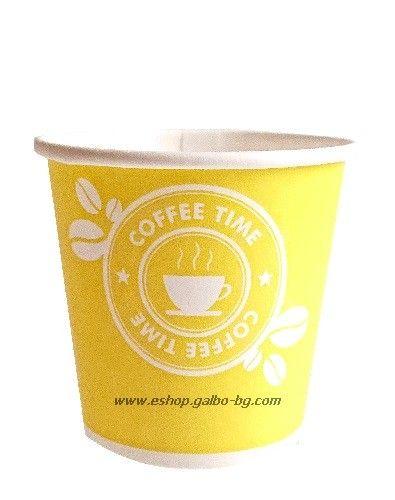 Картонена чаша 4 oz (80 мл) COFFEE TIME 100 / 1000 бр