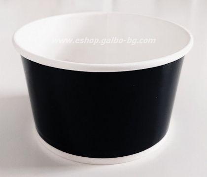 Картонена купа за сладолед 400 мл ЧЕРНА,  25 бр