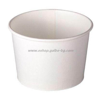 Картонена чаша за сладолед БЯЛА 200 мл,  50 / 1250 бр