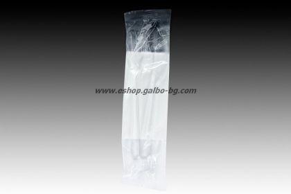 Комплект прозрачни пластмасови прибори Лукс - вилица, нож, салфетка 250 бр
