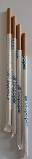 Единично опаковани ХАРТИЕНИ  КРАФТ джъмбо сламки  20 см / 8 мм - 100 бр.