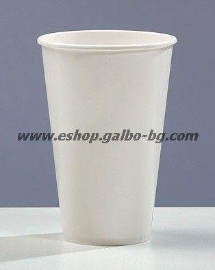 Бяла картонена чаша 12 oz (300 мл), 80 мм,  за студени напитки, В ПРОМОЦИЯ   100 / 2000 бр