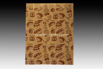 Хартиен плик за закуски 16/5/21 см кафяв маслоустойчив 1000 бр с печат ПЕКАРНА