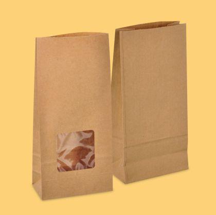 Хартиен плик  12/6/25 см КАФЯВ с дъно и  прозорец 50 бр