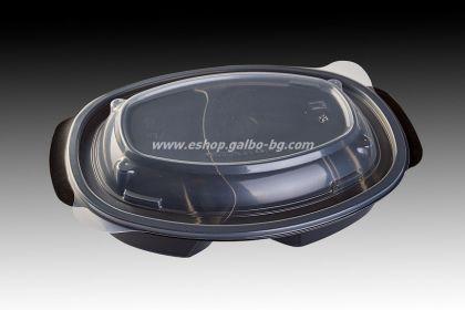 РР Черна кутия за храна МН 905 мл с две деления и капак, 50 бр.