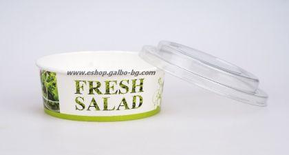 Картонена купа за салата FRESH SALAD  550 мл, с капак  50 / 300 бр
