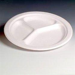 100% биоразградима картонена чиния кръгла 23 см с три деления  50 бр В ПРОМОЦИЯ