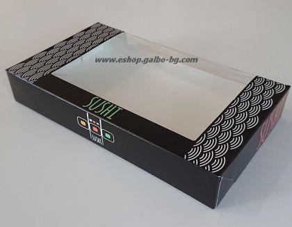 """Картонена кутия голяма """"Sushi"""" 22*13*3,5 см  25 / 250 бр"""