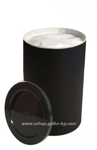 Цилиндрична картонена кутия 1000 мл, черна с вентил