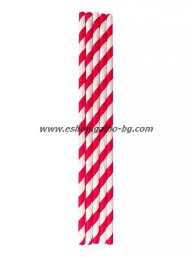 Хартиени червено/бели сламки  20 см / 6 мм - 250 бр.В ПРОМОЦИЯ